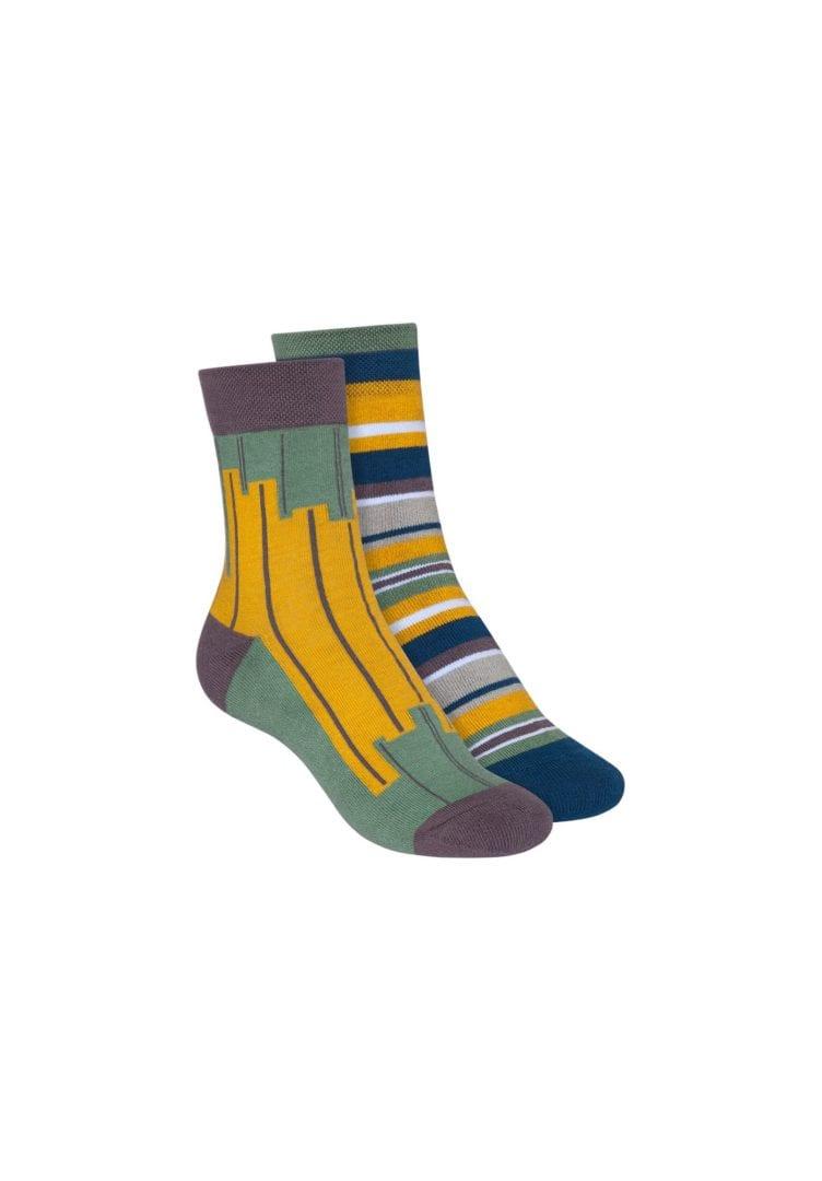Socken Terry Mittelhoch Blau Grün 2er Pack  von ThokkThokk