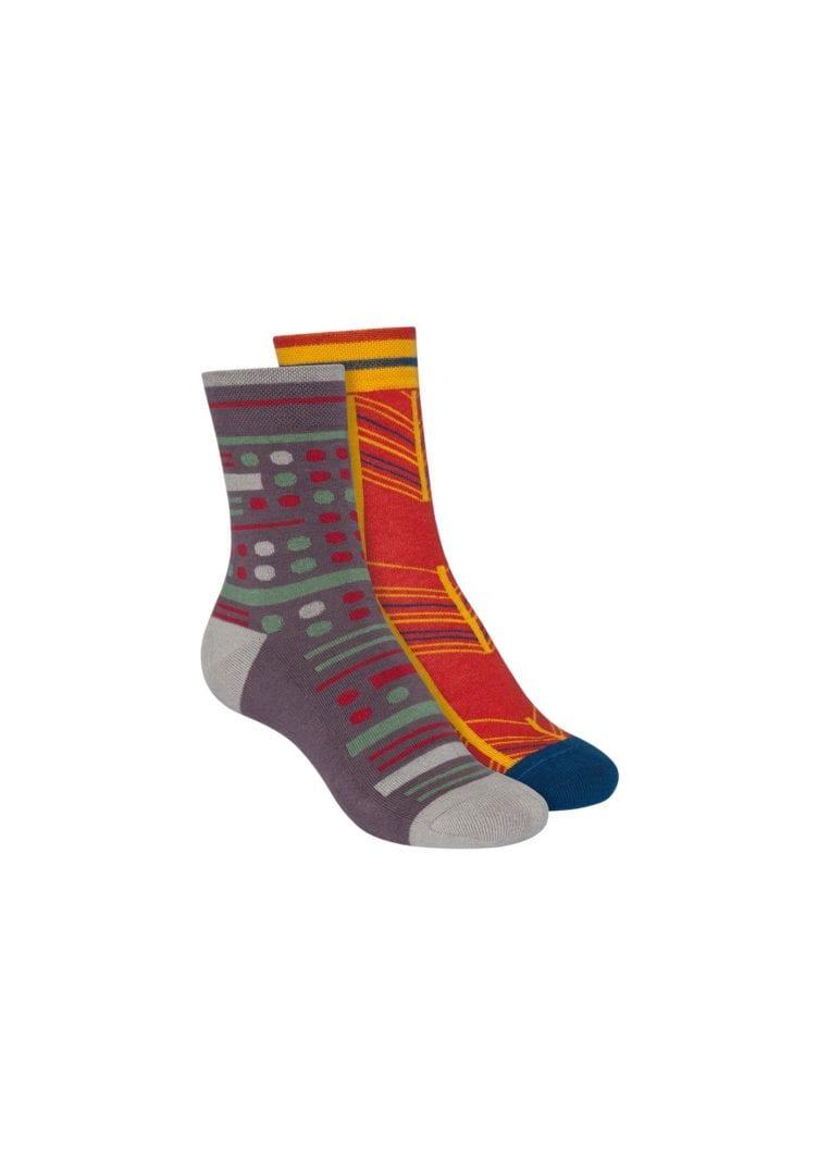 Socken Terry Mittelhoch Rot Grau 2er Pack  von ThokkThokk