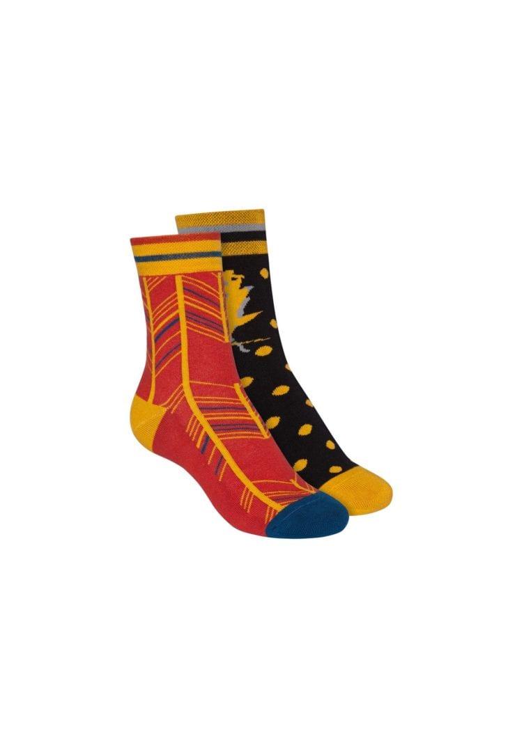 Socken Terry Mittelhoch Schwarz Rot 2er Pack  von ThokkThokk