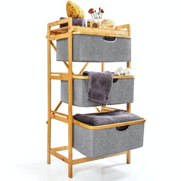 Premium Wäschesammler mit 3 Fächern aus nachhaltigem Bambus von Bambuswald