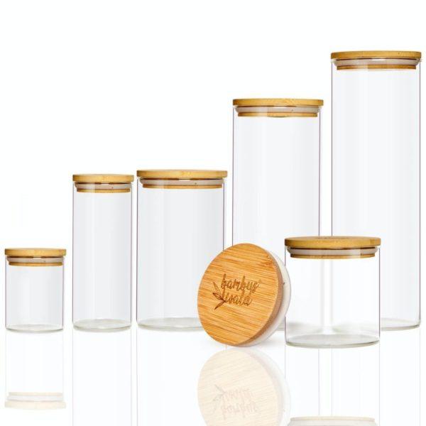 Runde Vorratsgläser aus recyclebarem Glas & Bambusdeckel in vielen Größen von Bambuswald