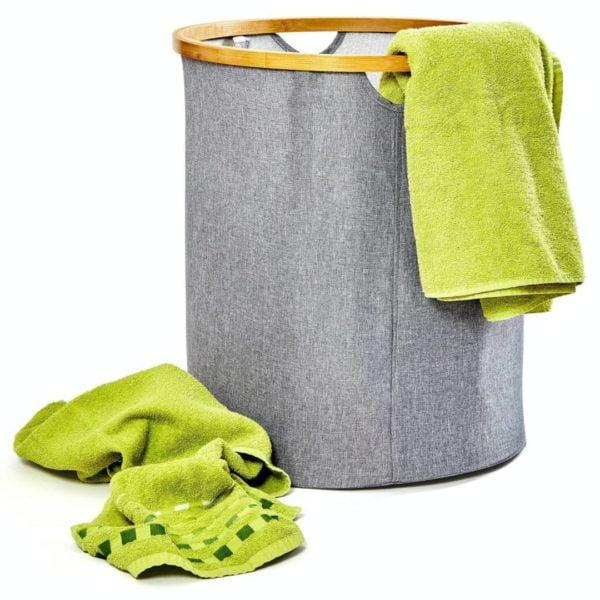 Runder Wäschesack / Wäschesammler - Ring aus natürlichem Bambus & faltbar von Bambuswald
