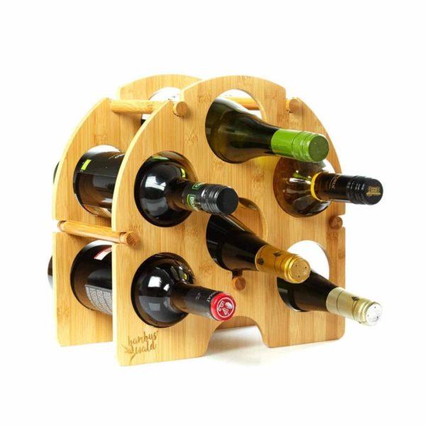 Rundes Weinregal / Flaschenregal für 6 Flaschen aus 100% Bambus von Bambuswald