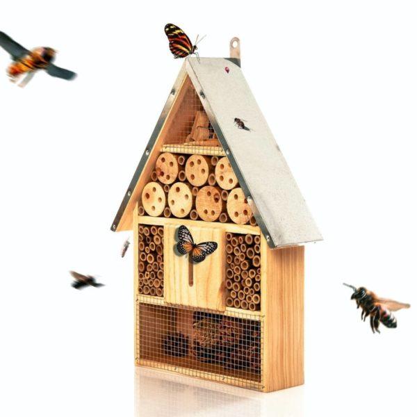 Umweltfreundliches Insektenhotel mit Metalldach 39 5 x 23 x 7 cm für den Garten von Bambuswald