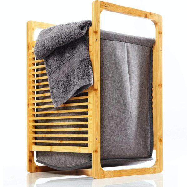 Wäschekorb mit rausnehmbarem Wäschesack von Bambuswald