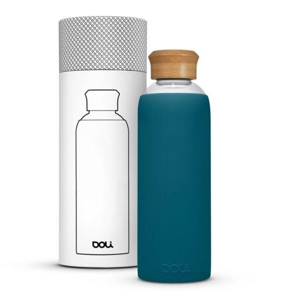 Trinkflasche aus Glas  Bamboo Teal 500ml von Doli