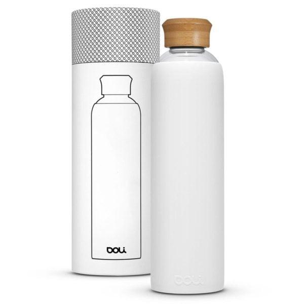 Trinkflasche aus Glas  Bamboo White 1L von Doli