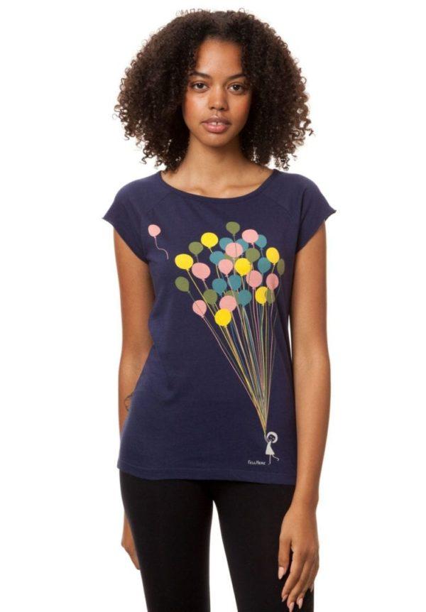 T-Shirt Balloons Girl Dunkelblau  von FellHerz