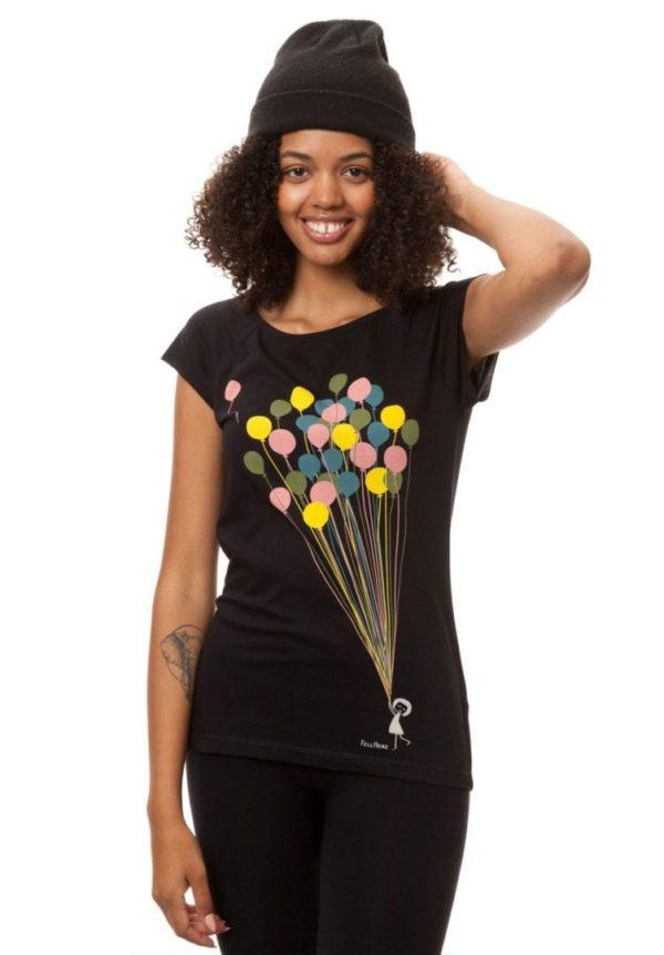 T-Shirt Balloons Girl Schwarz  von FellHerz