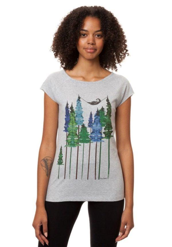 T-Shirt Wood Girl Hellgrau Meliert  von FellHerz