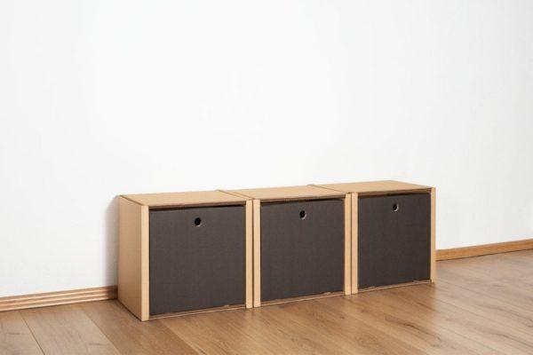 Regal 1x3 - 3 Schubladen hoch / schwarz von Room in a Box
