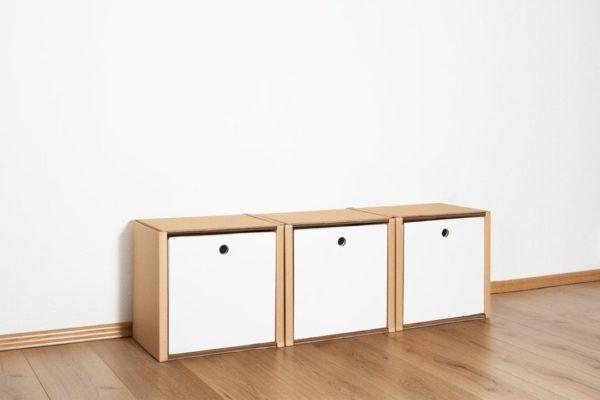 Regal 1x3 - 3 Schubladen hoch / weiß von Room in a Box