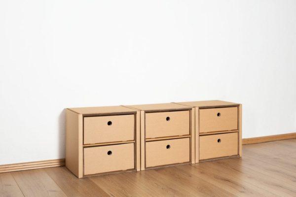Regal 1x3 - 6 Schubladen niedrig / natur von Room in a Box