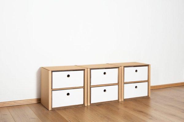 Regal 1x3 - 6 Schubladen niedrig / weiß von Room in a Box