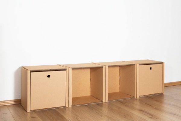Regal 1x4 - 2 Schubladen hoch / natur von Room in a Box