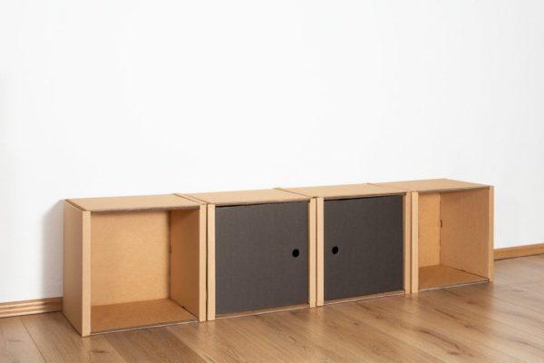 Regal 1x4 - 2 Türen / schwarz von Room in a Box