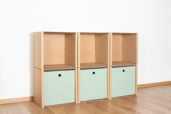 Regal 2x3 - 3 Schubladen hoch / salbei von Room in a Box