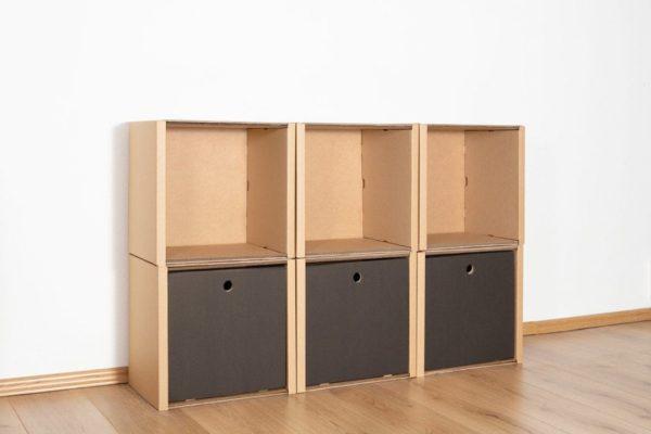 Regal 2x3 - 3 Schubladen hoch / schwarz von Room in a Box