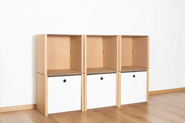 Regal 2x3 - 3 Schubladen hoch / weiß von Room in a Box