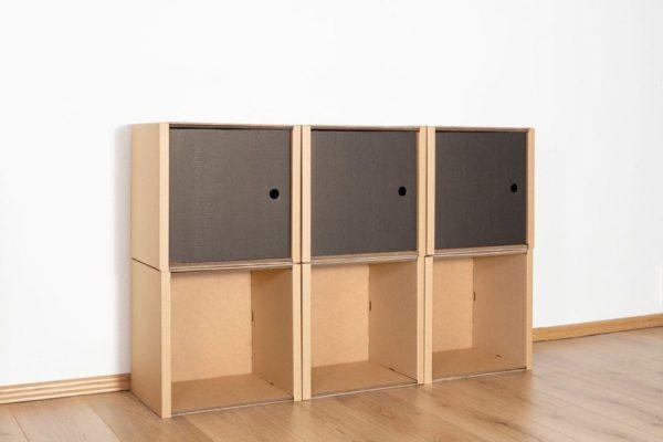 Regal 2x3 - 3 Türen / schwarz von Room in a Box
