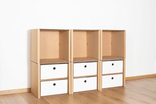 Regal 2x3 - 6 Schubladen niedrig / weiß von Room in a Box