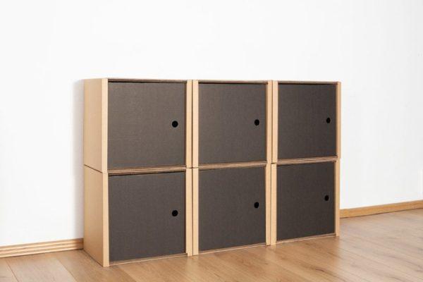 Regal 2x3 - 6 Türen / schwarz von Room in a Box