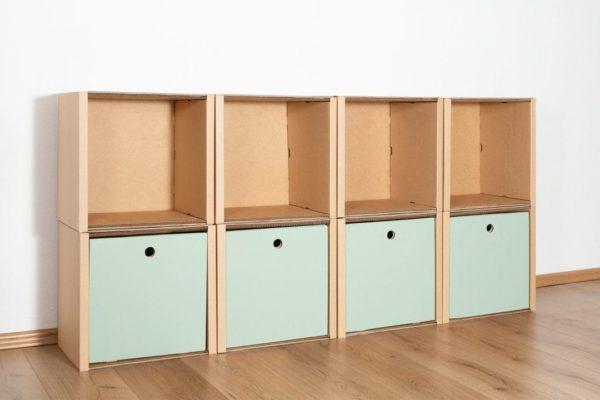 Regal 2x4 - 4 Schubladen hoch / salbei von Room in a Box