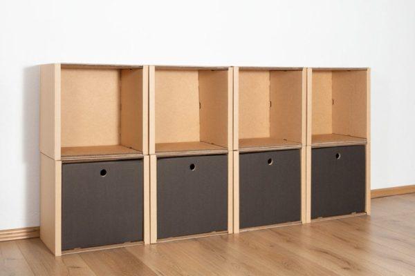Regal 2x4 - 4 Schubladen hoch / schwarz von Room in a Box