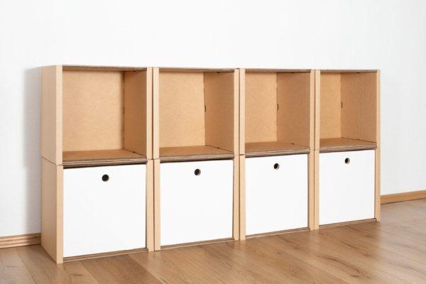Regal 2x4 - 4 Schubladen hoch / weiß von Room in a Box
