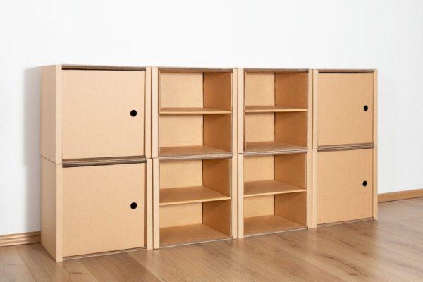 Regal 2x4 - 4 Türen + 4 Regalböden (natur) / natur von Room in a Box