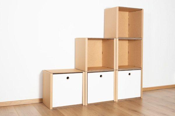 Stufenregal klein - 3 Schubladen hoch / weiß von Room in a Box
