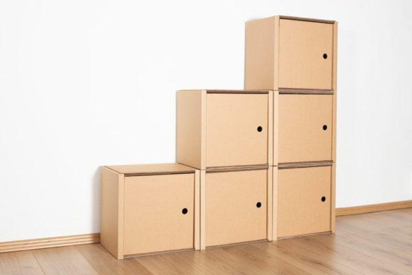 Stufenregal klein - 6 Türen / natur von Room in a Box