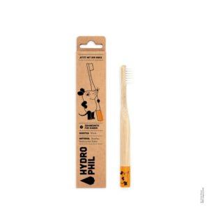 Maus Kids Zahnbürste aus Bambus – extra weich – orange von Hydrophil