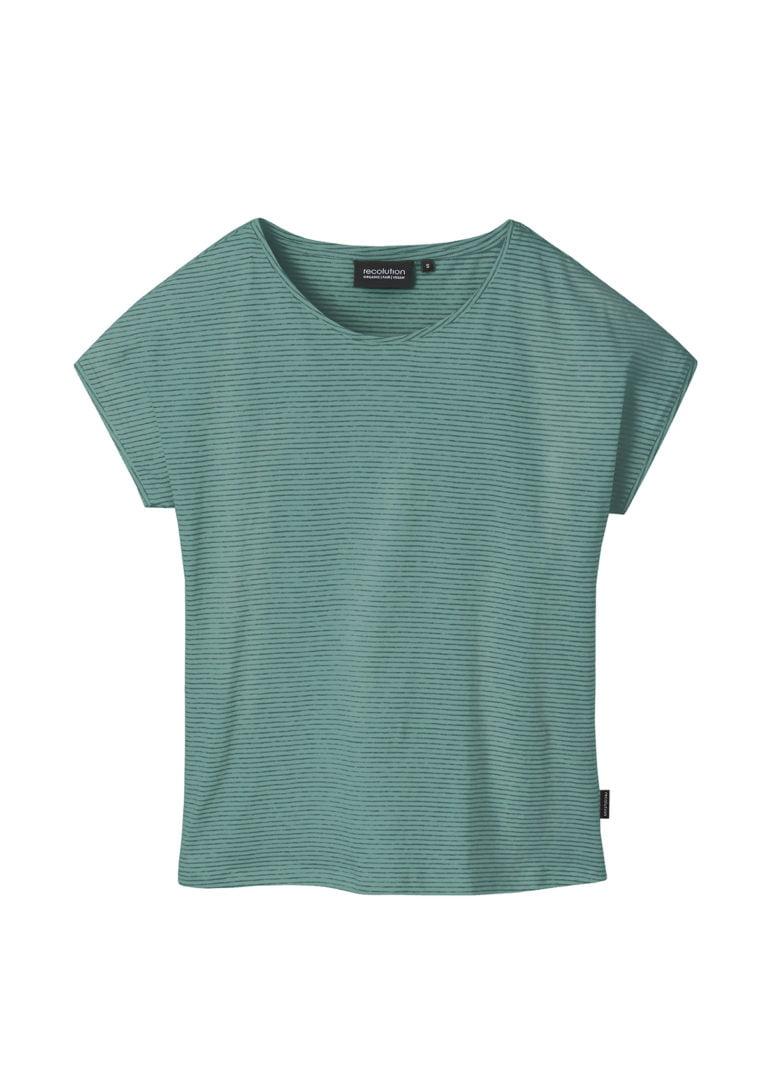 Casual T-Shirt #STRIPES Light / Dark Eukalyptus von Recolution