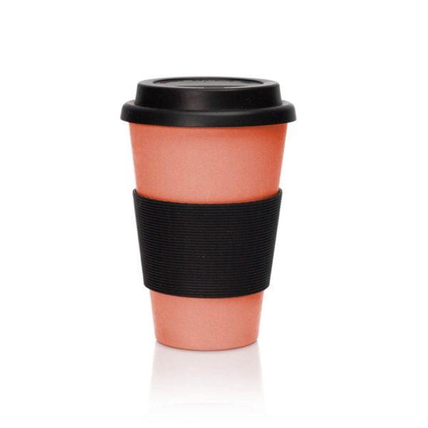 Mehrweg Kaffeebecher mit Silikon Hitzeschutz ca.450ml Füllmenge in korallrosa von Bambuswald