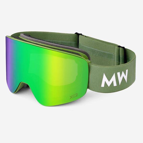 Skibrille Achton Xe2 Green Revo Army Unisex von MessyWeekend