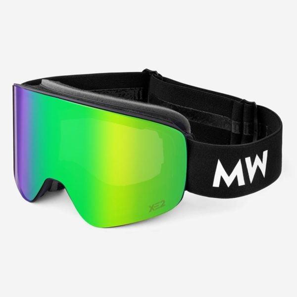 Skibrille Achton Xe2 Green Revo Black Unisex von MessyWeekend