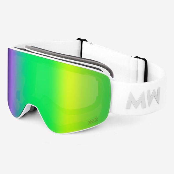 Skibrille Achton Xe2 Green Revo White Unisex von MessyWeekend