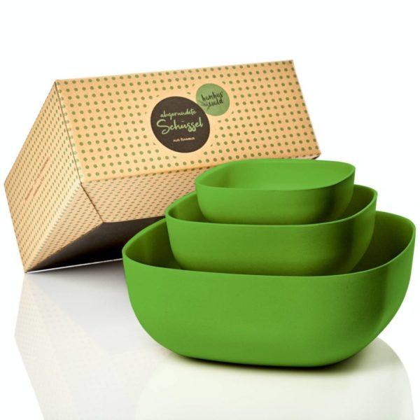 Salatschüssel in 3x Größen: 0 75L / 1 8L / 5L | quadratisch | grün von Bambuswald
