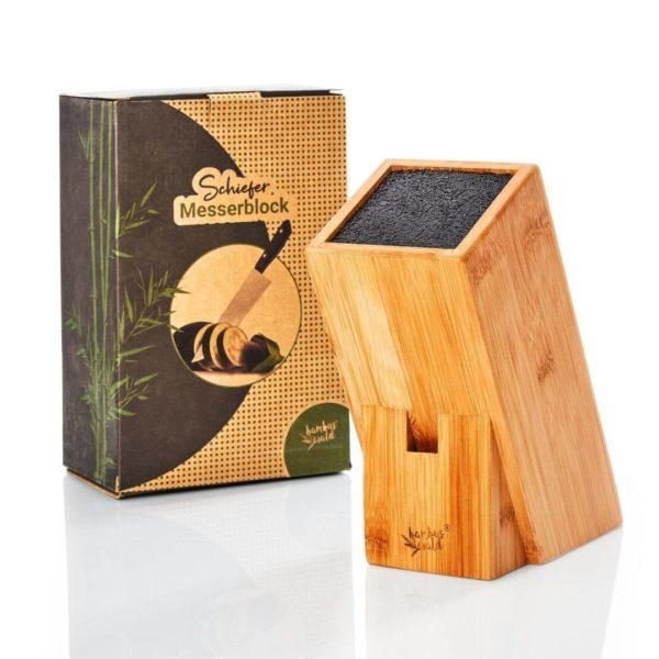 Messerblock aus Bambus mit Platz für ca. 6 Messer von Bambuswald