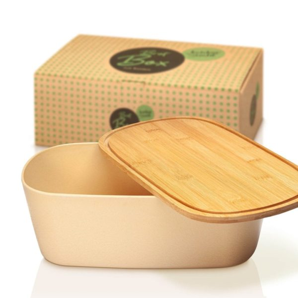 Brotbox mit Deckel aus Bambus in beige von Bambuswald