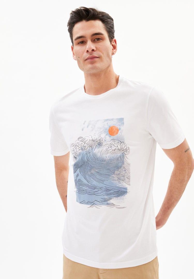 T-shirt Jaames Big Wave In White von ArmedAngels