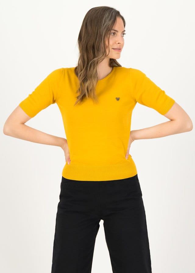 Logo Pully Roundneck 1/2 Arm Gelb von blutsgeschwister