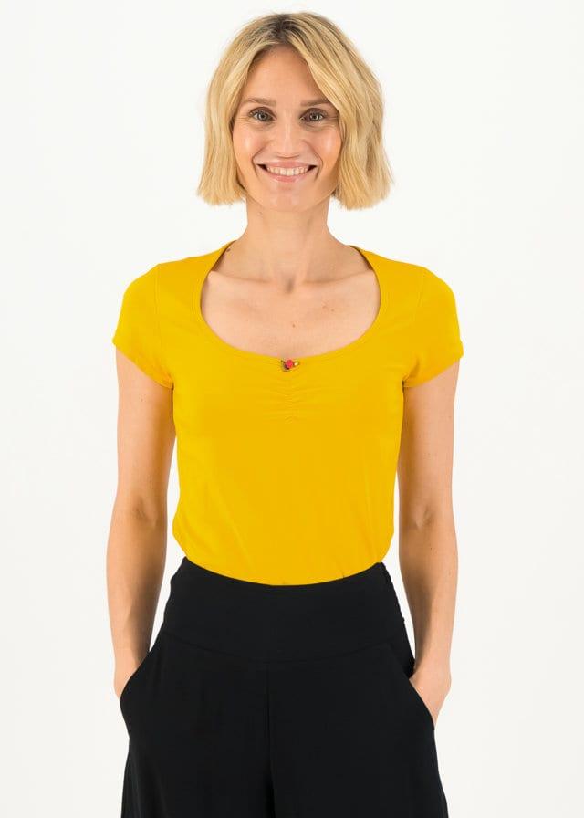 Logo Shortsleeve Feminin Gelb von blutsgeschwister