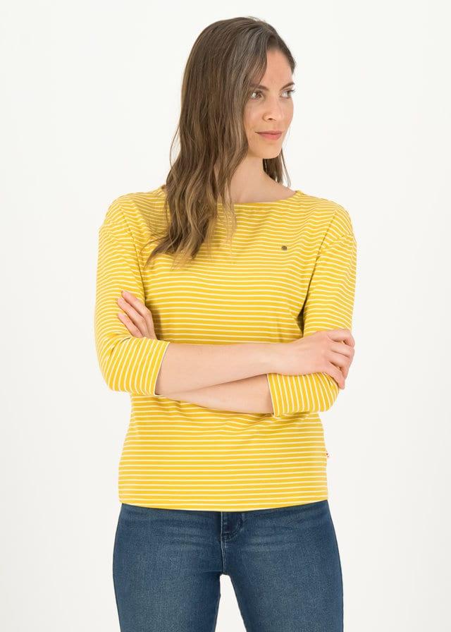 Logo Stripe 3/4 Arm Shirt Gelb von blutsgeschwister