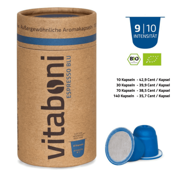 BIO-Espresso Blu - 30 abbaubare Kaffeekapseln ohne Alu von Vitaboni