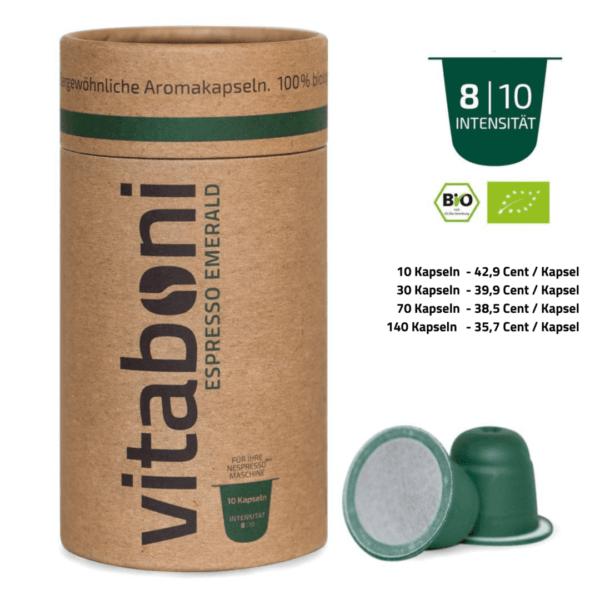 BIO-Espresso Emerald - 30 abbaubare Kaffeekapseln ohne Alu von Vitaboni