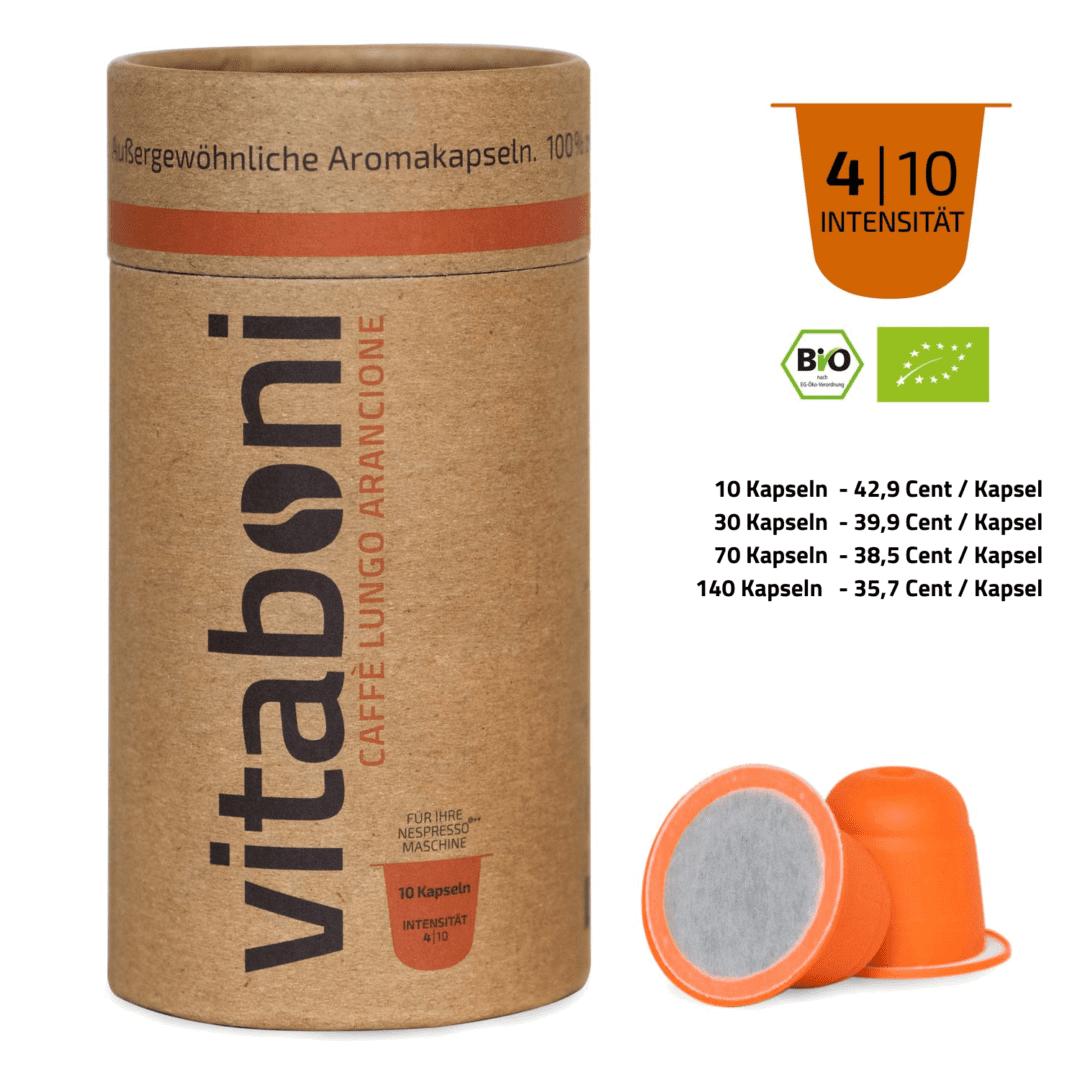 BIO-Lungo Arancione - 30 abbaubare Kaffeekapseln ohne Alu von Vitaboni