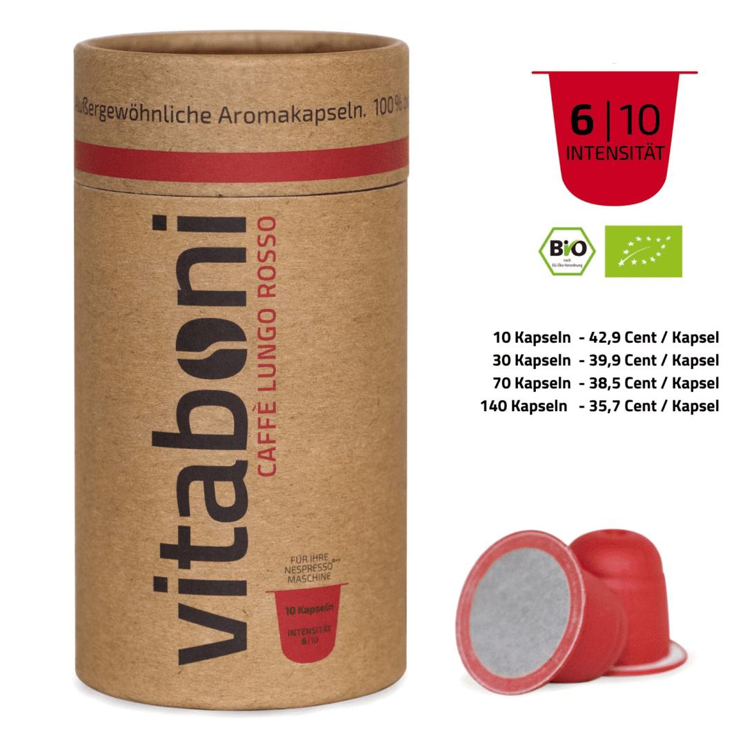 BIO-Lungo Rosso - 30 abbaubare Kaffeekapseln ohne Alu von Vitaboni