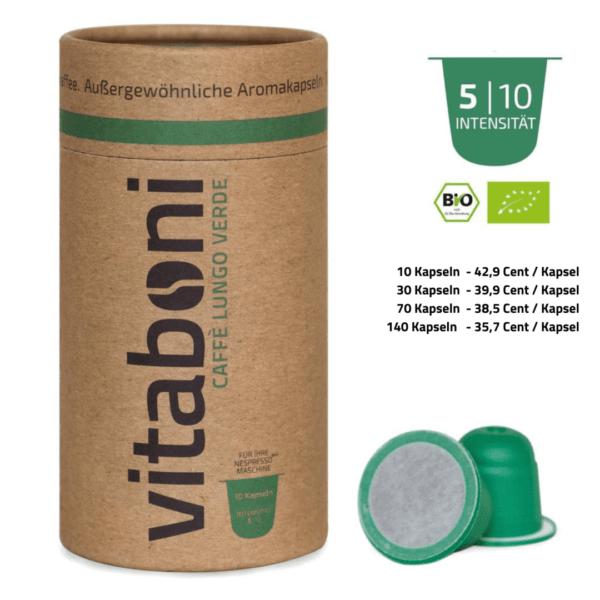BIO-Lungo Verde - 30 abbaubare Kaffeekapseln ohne Alu von Vitaboni